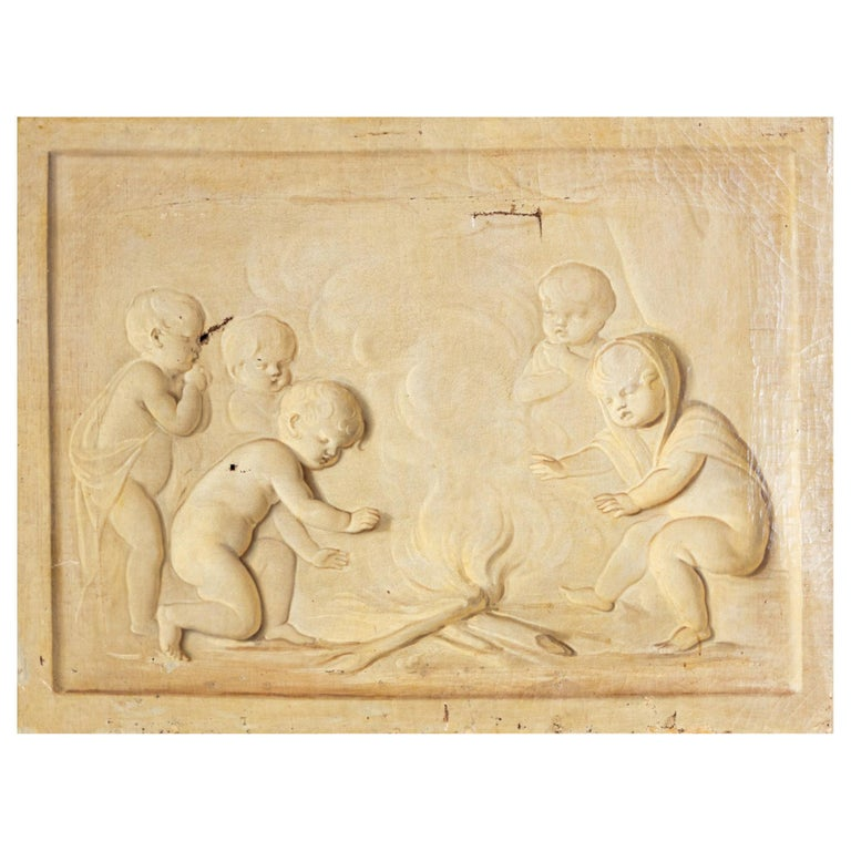 Grisaille, Putti at the Campfire, Follower of Jacob de Wit, probably Netherla For Sale