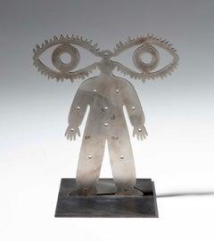 "Russian Judaica ""Vision"" Abstract Kabbalah Figure Steel Sculpture Grisha Bruskin"