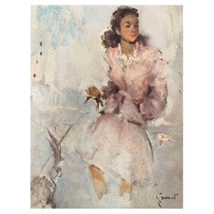 """Grisot Pierre """"Young elegant woman with a dog"""""""