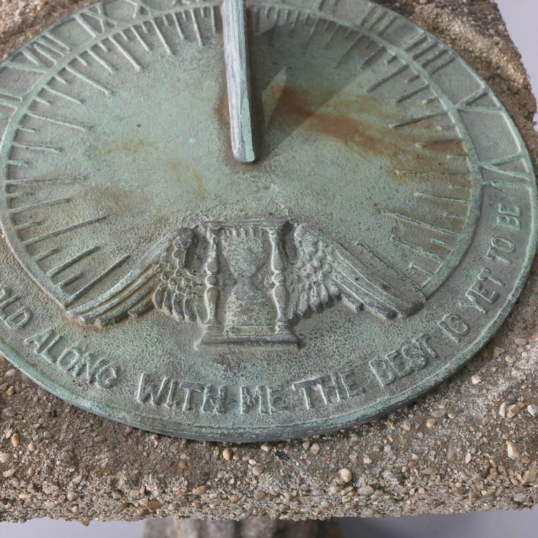 """Old Westbury Gardens Sundial: Griswold Cast Bronze """"Grow Old With Me...."""" Sundial On"""