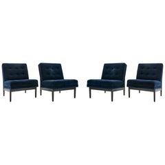 grm Bespoke V Lounge Chair - Ebonized Maple & Mohair Floor Sample Set of 4