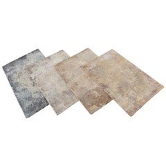 Groove Contemporary Loop and Cut Custom Wool and Silk Rug