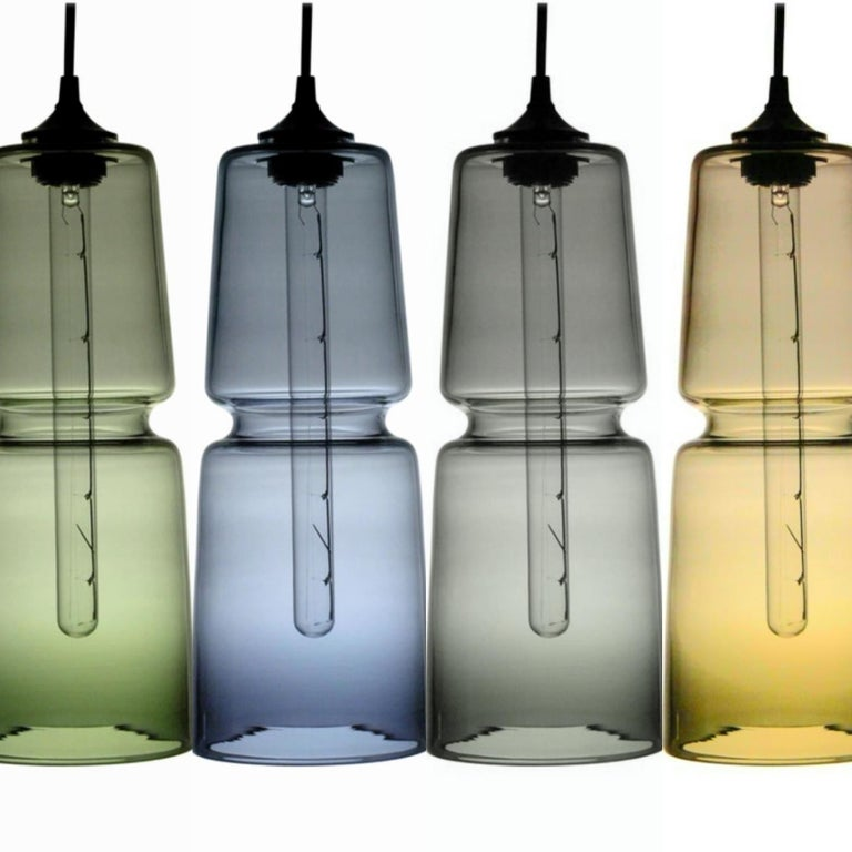 Groove Series Cylinder Pendant, Modern Handmade Glass Lighting - In Stock For Sale 5