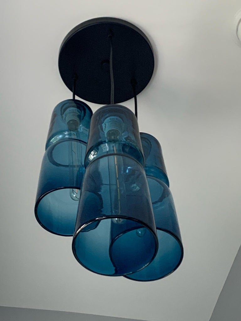 Groove Series Cylinder Pendant, Modern Handmade Glass Lighting - In Stock For Sale 2
