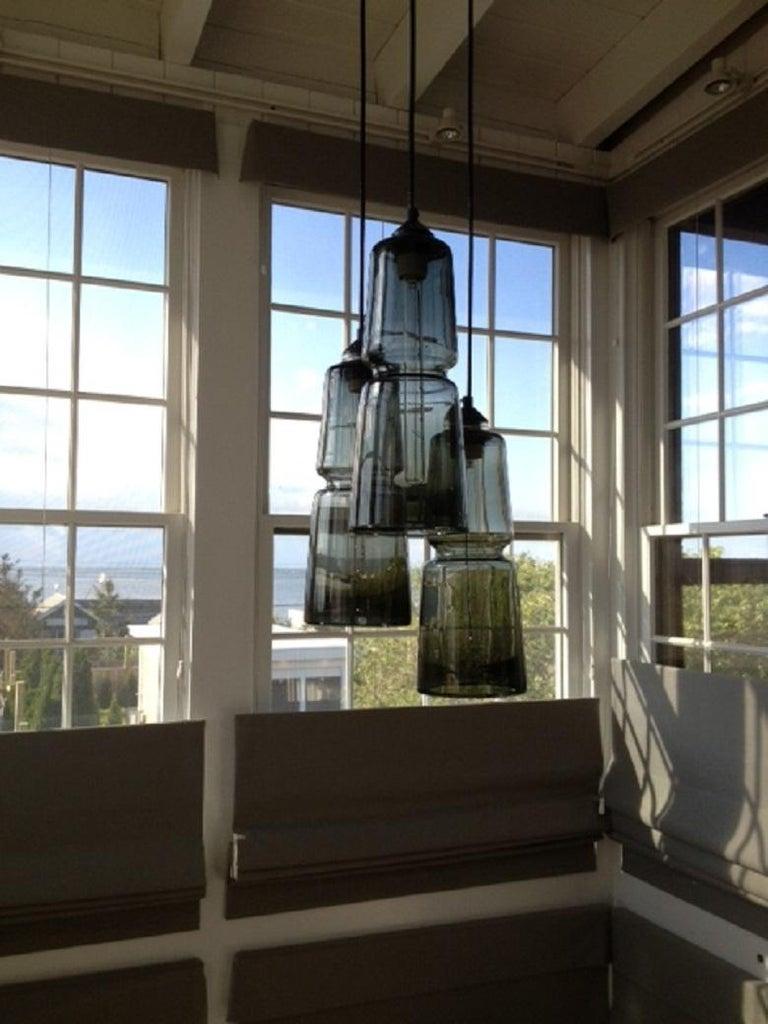 Blown Glass Groove Series Cylinder Pendant Opal White, Modern Handmade Glass Light For Sale