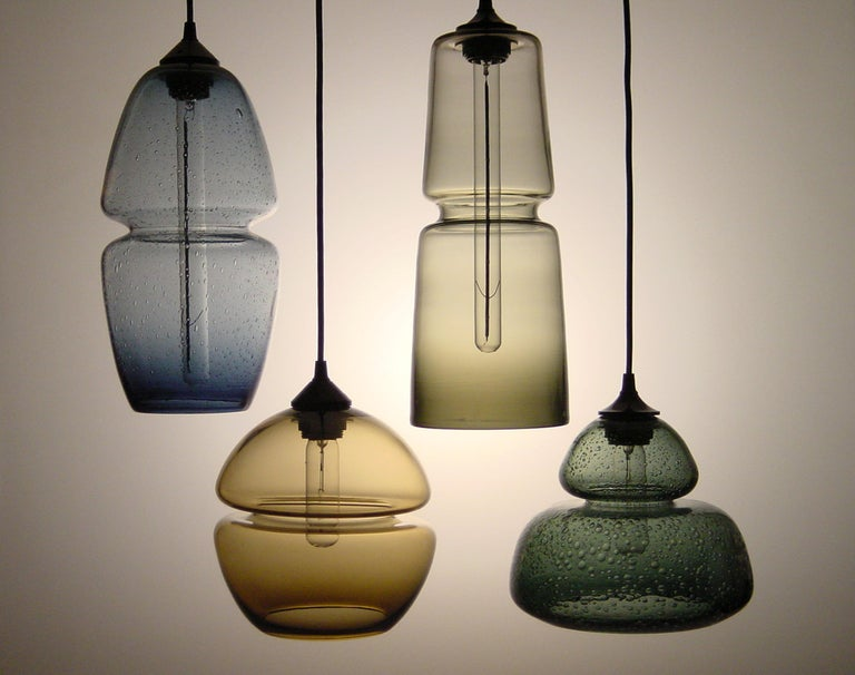 Groove Series Cylinder Pendant Opal White, Modern Handmade Glass Light For Sale 2