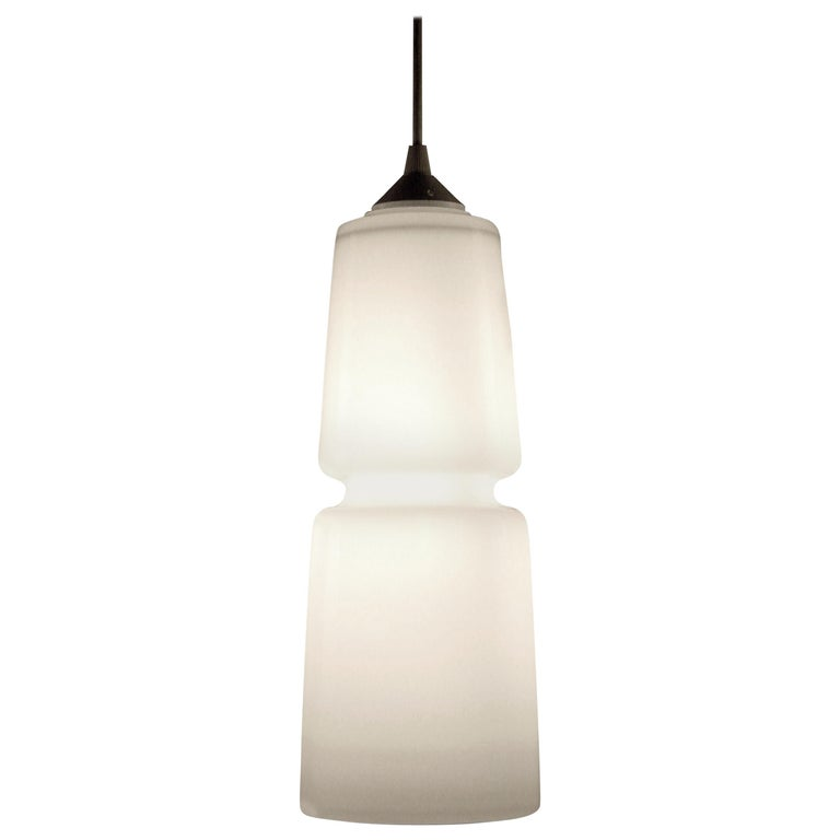 Groove Series Cylinder Pendant Opal White, Modern Handmade Glass Light For Sale