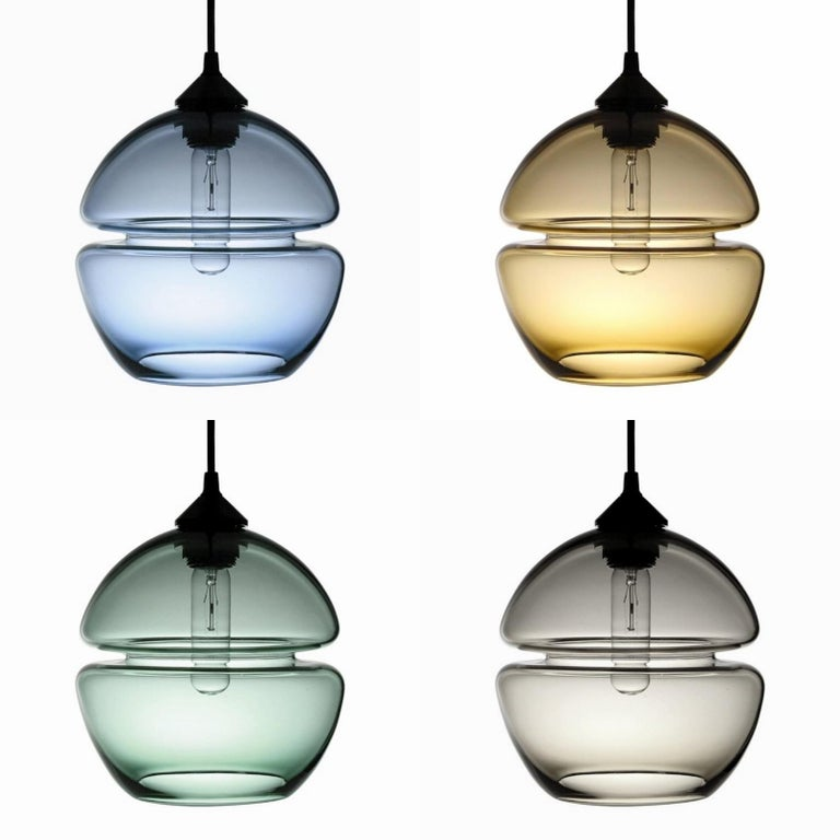 Blown Glass Groove Series Orb Pendant, Contemporary Handmade Glass Lighting  For Sale