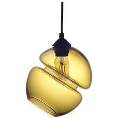 Groove Series Orb Tilt Pendant in Amber, Contemporary Handmade Glass Lighting