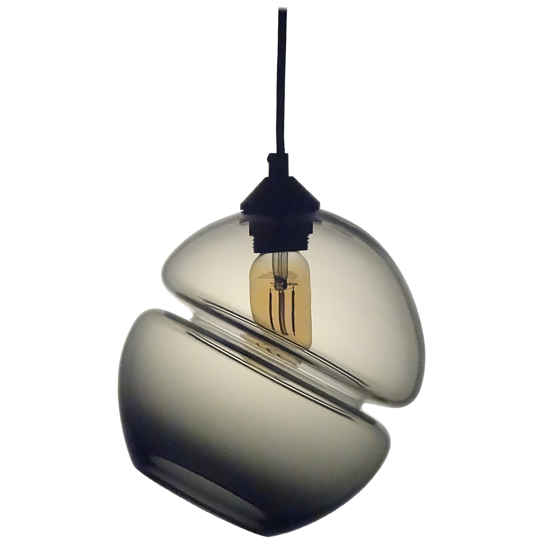 Groove Series Orb Tilt Pendant in Grey, Contemporary Handmade Glass Lighting