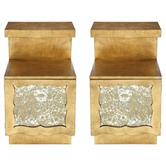 Grosfeld House 22-Karat Gold Gilded Nightstands