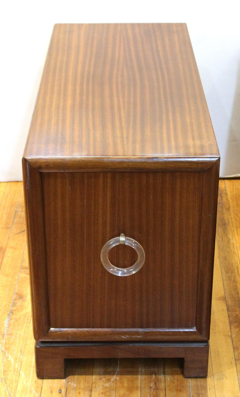 Leather Grosfeld House Art Deco Mahogany Low Cabinets or Nightstands For Sale