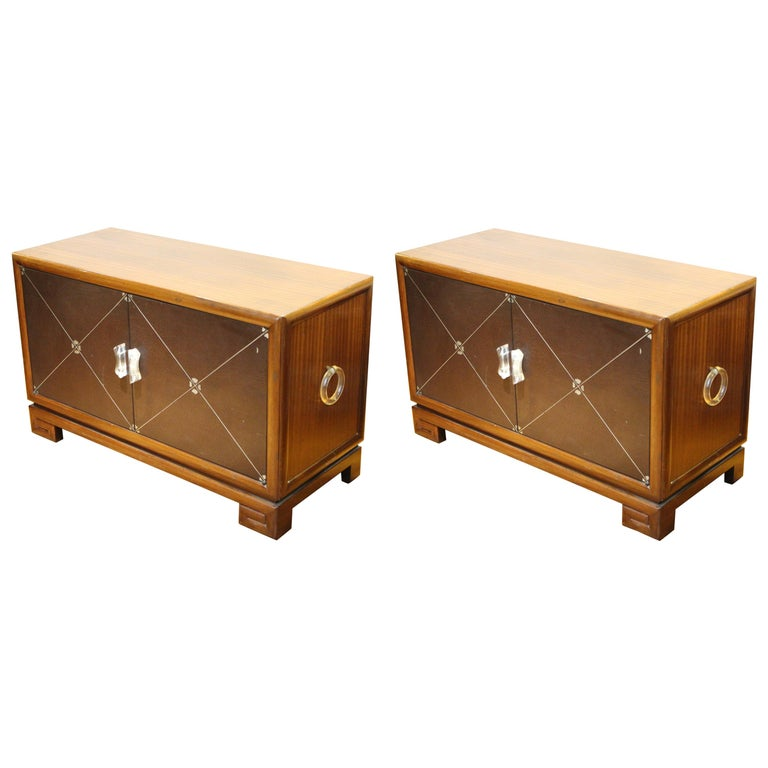 Grosfeld House Art Deco Mahogany Low Cabinets or Nightstands For Sale