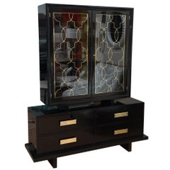 Grosfeld House Black Lacquer, Brass and Glass Cabinet Hollywood Regency
