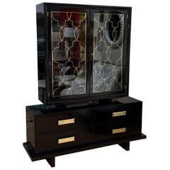 Grosfeld House Black Lacquer, Brass and Glass Cabinet Vintage