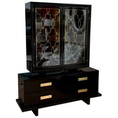 Grosfeld House Black Lacquer Over Wood, Brass and Glass Cabinet Vintage