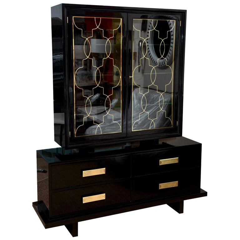 Grosfeld House Black Lacquer Over Wood, Brass and Glass Cabinet Vintage For Sale