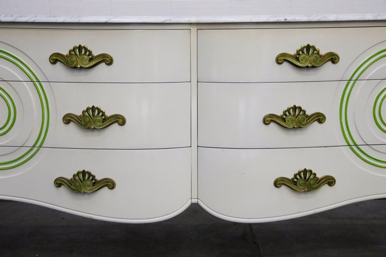 Grosfeld House Carrara Marble Complete Bedroom Set, circa 1940s, Signed For Sale 5