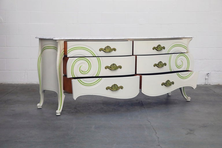 Hollywood Regency Grosfeld House Carrara Marble Complete Bedroom Set, circa 1940s, Signed For Sale