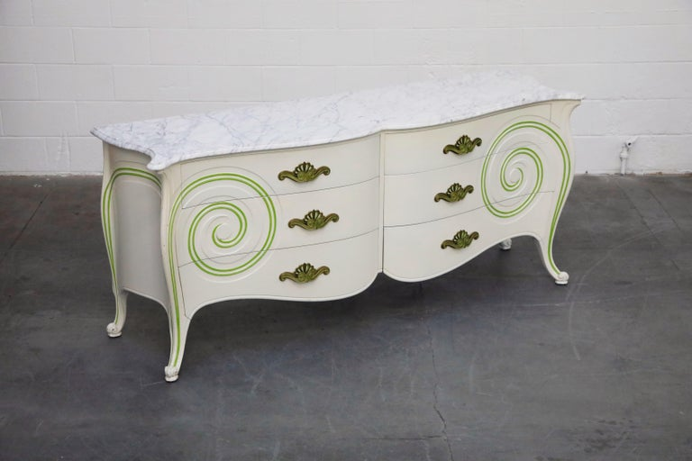American Grosfeld House Carrara Marble Complete Bedroom Set, circa 1940s, Signed For Sale