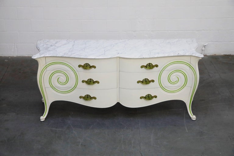 Carved Grosfeld House Carrara Marble Complete Bedroom Set, circa 1940s, Signed For Sale