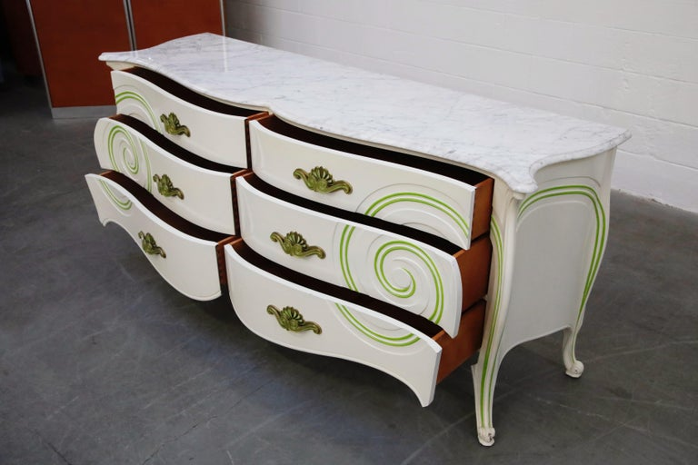 Grosfeld House Carrara Marble Complete Bedroom Set, circa 1940s, Signed In Good Condition For Sale In Los Angeles, CA