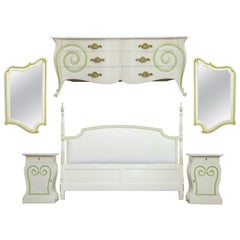 Grosfeld House Carrara Marble Complete Bedroom Set, circa 1940s, Signed