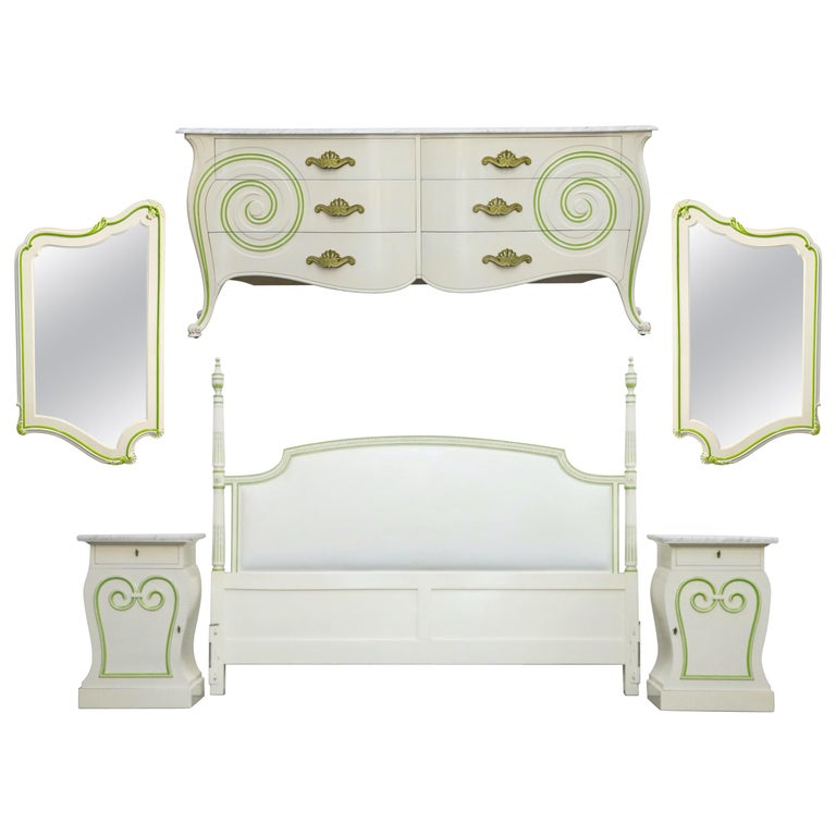 Grosfeld House Carrara Marble Complete Bedroom Set, circa 1940s, Signed For Sale