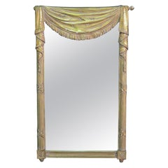 Grosfeld House Carved Drapery Swag Gilded Mirror Hollywood Regency, circa 1950