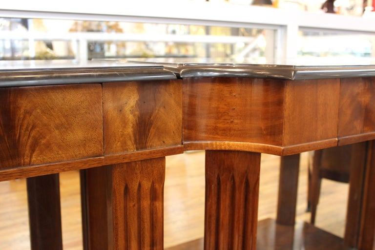 Grosfeld House Empire Style Mirrored Mahogany Console with Marble Tops For Sale 6