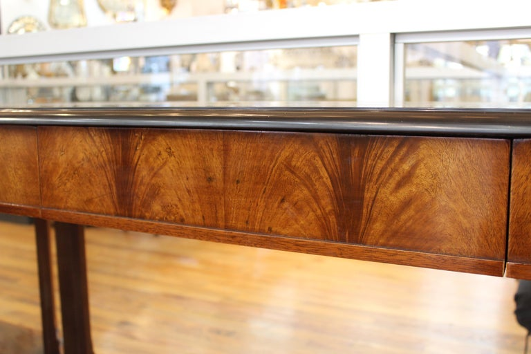 Grosfeld House Empire Style Mirrored Mahogany Console with Marble Tops For Sale 7