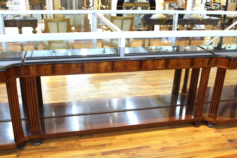 Unknown Grosfeld House Empire Style Mirrored Mahogany Console with Marble Tops For Sale