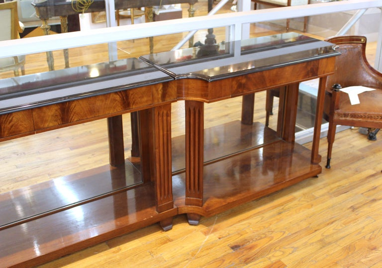 Grosfeld House Empire Style Mirrored Mahogany Console with Marble Tops In Good Condition For Sale In New York, NY