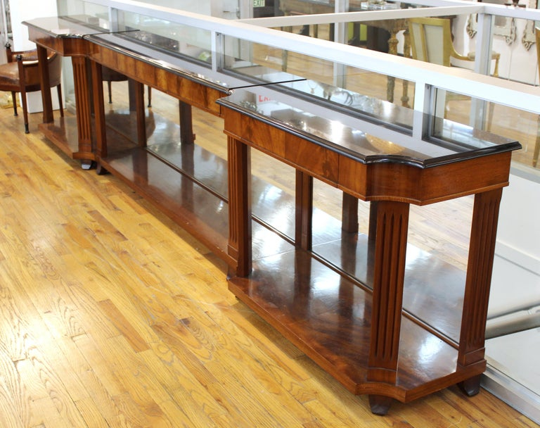 20th Century Grosfeld House Empire Style Mirrored Mahogany Console with Marble Tops For Sale