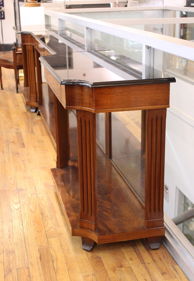 Grosfeld House Empire Style Mirrored Mahogany Console with Marble Tops For Sale 1