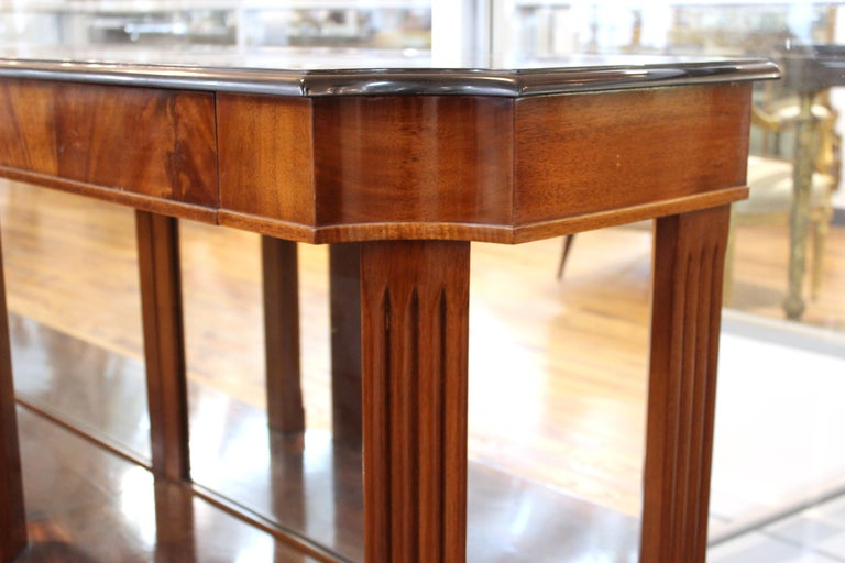 Grosfeld House Empire Style Mirrored Mahogany Console with Marble Tops For Sale 2