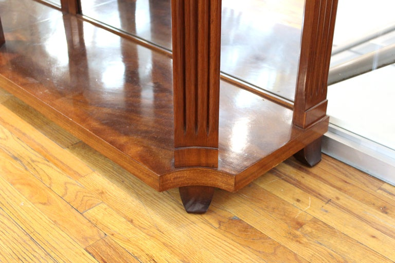 Grosfeld House Empire Style Mirrored Mahogany Console with Marble Tops For Sale 3