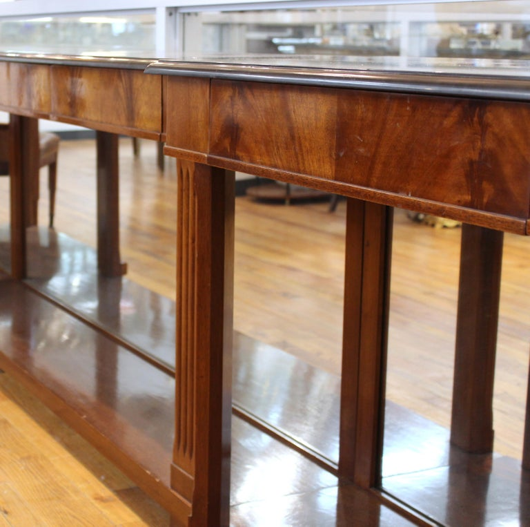 Grosfeld House Empire Style Mirrored Mahogany Console with Marble Tops For Sale 4