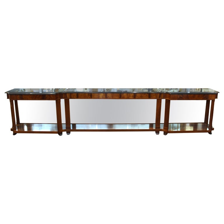 Grosfeld House Empire Style Mirrored Mahogany Console with Marble Tops For Sale
