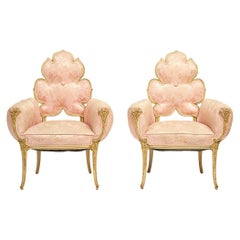 Grosfeld House Flower Back Chairs in Pink Brocade, 1940s