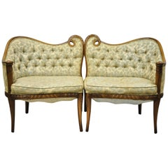 Grosfeld House French Regency Scroll Frame Fireside Lounge Armchairs, a Pair