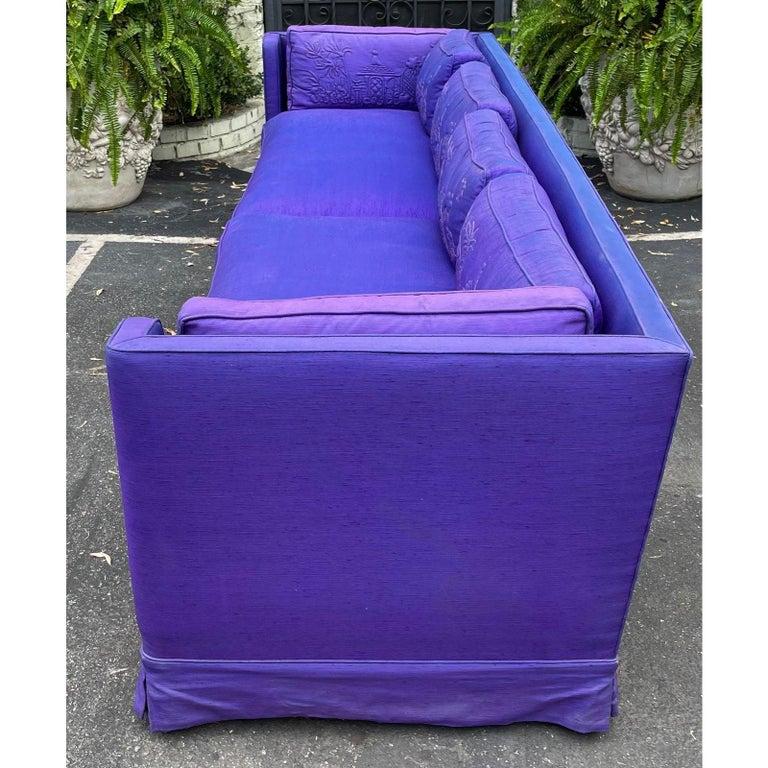 American Grosfeld House Hollywood Regency Mid-Century Modern Long Low Sofa For Sale
