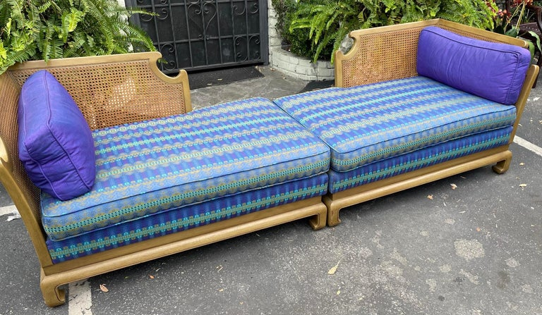 Grosfeld House Hollywood Regency Mid-Century Modern Chinese Chippendale 2 part sofa. Down filled purple and green cushions with pickled walnut finish and cane backs.