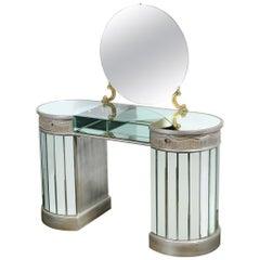 Grosfeld House Hollywood Regency Silvered, Brass & Mirrored Vanity Table/ Desk