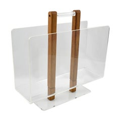 Grosfeld House Lucite and Oak Wood Magazine Rack Stand