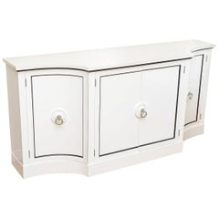 Grosfeld House Regency White Lacquered and Nickel Silver Cabinet or Buffet