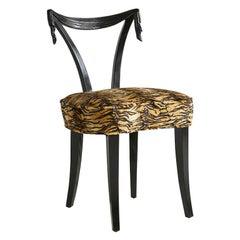 Grosfeld House Tassel Motif Chair in Animal Print Upholstery