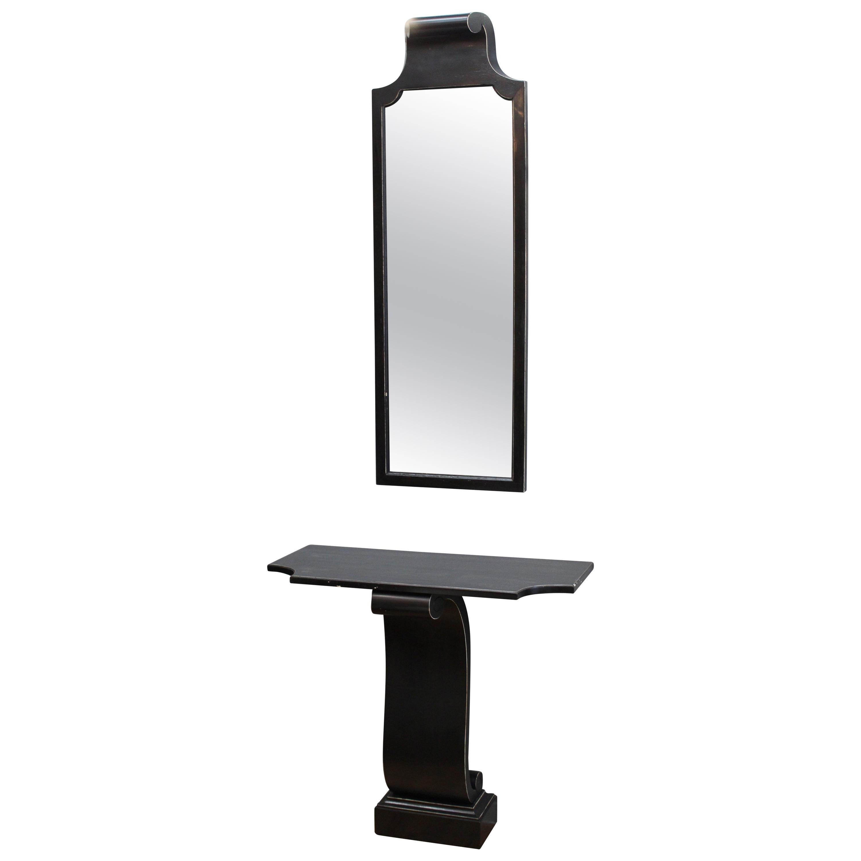 Grosfeld House Wall Console and Mirror in Ebonized Wood