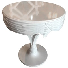 Grosfeld House White Lacquered Tassle Carved Side End Entry Way Center Table