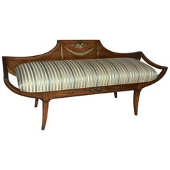 Grosfeld House Wood Painted Low Back Upholstered Bench